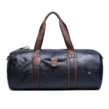 Men Tote  Weekend Bag Fashion Luggage Bag High Quality PU Leather Travel Duffle Bags Hand pattern sac voyages hommes