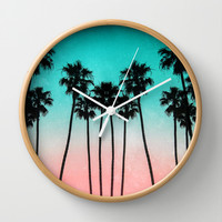 Palm Trees 3 Wall Clock by Mareike Böhmer Photography