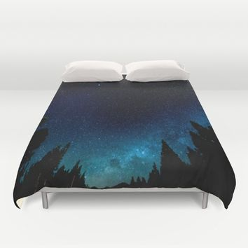 Black Trees Turquoise Milky Way Stars Duvet Cover by 2sweet4words Designs