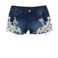 Bradley Mid-Rise Shorts with Lace Detail - Medium Blue