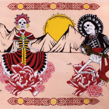 Handmade 100% Cotton Mexican Day of the Dead Tapestry Coverlet Bedspread 60x90