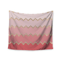 """Monika Strigel """"Avalon Coral Ombre"""" Pink Chevron Wall Tapestry"""