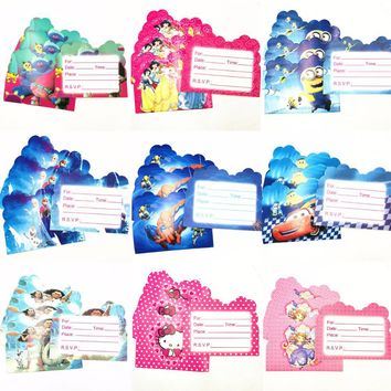 10pcs/set Cartoon Minions Spideman Moana Mickey/Minnie Mouse Party Supplies  Invitation Cards Birthday Party Decorations Kids