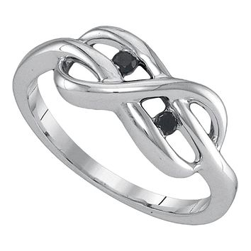 Sterling Silver Women's Black Color Enhanced Diamond Infinity Weave Woven Ring 1/20 Cttw - FREE Shipping (US/CAN)