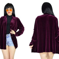 vintage 90s PLUM velvet shirt ultra draped velour button up top soft grunge duster jacket wine purple minimalist oversized blouse medium