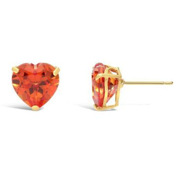 2.00 cttw Heart 6MM Padparadscha Sapphire 14K Yellow Gold Stud Earrings