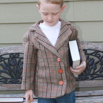 Boys Dress Coat, Wool Little Man Coat , Retro 1970's style, 18m, 2t, 3t, 4t, 5, 6, 7, 8