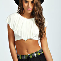 Amelie Frill Sleeve Crop Top