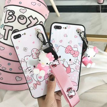 For iPhone 8 plus case Hello kitty cover For iphone X /7 plus/ 6 6splus case cartoon Doraemon fundas + 3D stand doll + rope cute