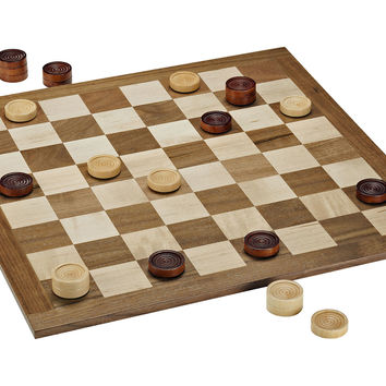 Classic Checkers Set, Walnut/Maple, Indoor Games