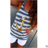 Summer Women Floral Printed Stripes Printed Floral Printed Casual Top Women Tank Vest _ 8146
