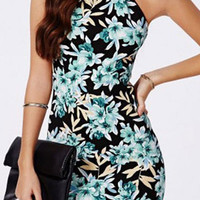 Black Floral Print Backless Dress
