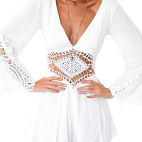 White V Neck Romper with Crochet Lace Details