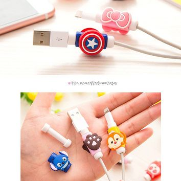 Double faces  USB cable Earphones Protector colorful hello kitty Cover For iphone android cable Data Line Protection sleeve