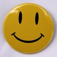 Yellow Happy Face  Button Pinback Badge 1 1/2 by theangryrobot