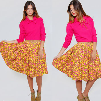 Vintage 50s SWING Skirt Bright Colors PSYCHEDELIC Print High Waisted Flared Retro Mini Skirt Rockabilly Skirt
