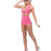Unique Vintage Pink & White Polka Dot Monroe High Waist Bikini Bottom - Unique Vintage - Prom dresses, retro dresses, retro swimsuits.