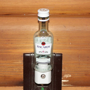 Upcycled Mini Bacardi Bottle Night Light, LED Night Light, Upcycled Liquor Bottle