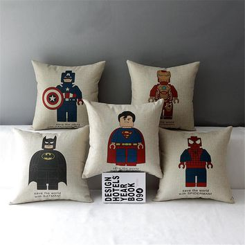 "18"" Square Steel Superman Spiderman Batman Lego  emoji Cotton Linen Cushion Sofa Decorative Throw Pillow Chair Car Home Decor"