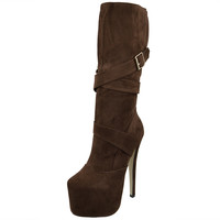 Womens Mid Calf Boots Strappy Buckle Platform Sexy High Heels Brown
