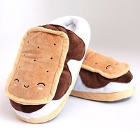 S'Mores USB Heated Slippers Warm Plush with Detachable Cable By Smoko