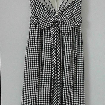 Vintage bBlack and White Gingham Long Dress