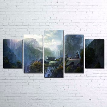 Mountain Waterfall Lord Of The Rings  5 Panel Print for Living Room  Framed UNfr