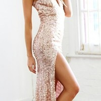 Beige Nude Gold Sequin Deep V Neck Halter Open Back Split Hem Maxi Evening Dress