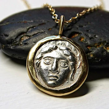 dainty gold coin pendant, ancient silver coin gold necklace, Apollonia Pontica Diobol coin pendant 14k gold, Medusa silver coin unique gift