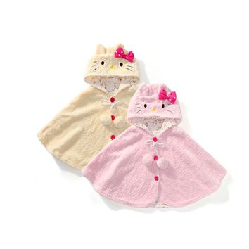 new spring autumn Hello Kitty Kids Baby Girl Clothes Soft Fleece Cloak Coat Toddler Girls Clothing Cape For Winter Outerwear