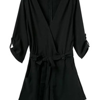 Black V-Neck Half Sleeve Romper with Sash