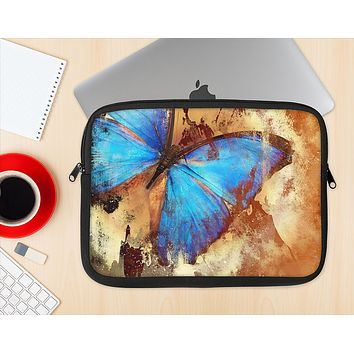 The Bright Blue Butterfly on Grunge Gold Surface Ink-Fuzed NeoPrene MacBook Laptop Sleeve