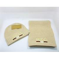 """GUCCI"" Newest Popular Women Men Casual Knit Warm Hat Cap Scarf Two Piece Set Khaki"