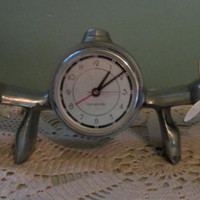 Vintage Airplane Clock / Aviation Clock / Sarsaparilla Propellor Clock / Deco Style