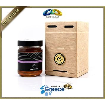 MELIMNOS - Greek Raw Wild Flower Honey - 24k Gold-Plated in Luxury Wooden Gift Box