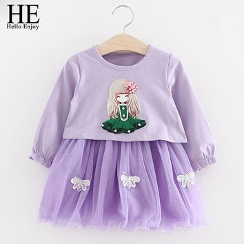 Baby Girl Dress Spring Autumn Cartoon Print Long Sleeve Sweater + Sling Dress 2pcs Set For First Birthday Party