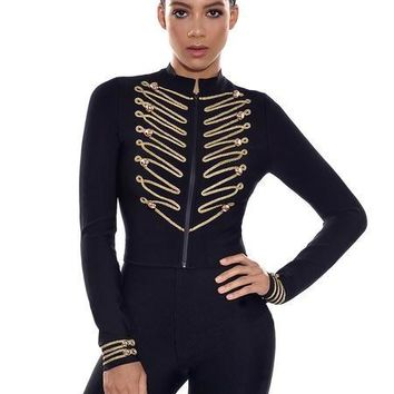 Front Button Gold Detailed Black Bandage Jacket