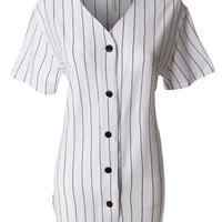 LE3NO Womens Oversized Striped Button Down Short Sleeve Baseball Shirt