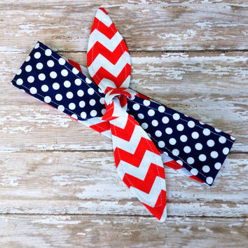 4th of July - Red White Blue - Women - Dolly Bow REVERSIBLE Tie Up Headscarf Headband Bandana Hair Accessory Boho Rockabilly - American Flag