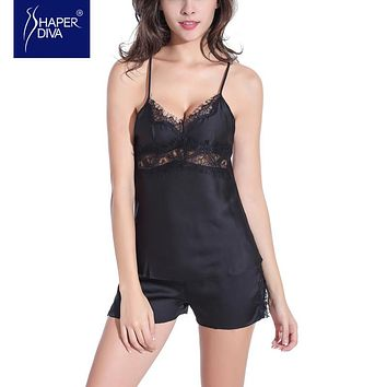 Burvogue Nightwear Lingerie Pajamas Set Lace Sleepwear Pajamas Sexy Style Silk Pajamas Sets Sleepwear Lingerie Set for Women