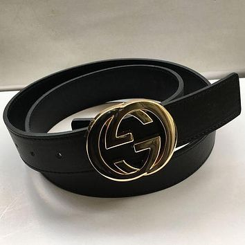 GUCCI Trending Woman Men Fashion Smooth Buckle Belt Leather Belt Black G