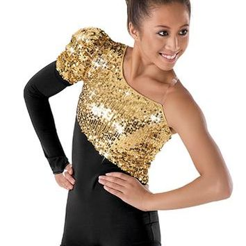 Single Long-Sleeve Sequin Short Unitard | Balera™