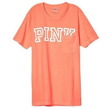 Gotopfashion Victoria's Secret PINK Campus Short Sleeve Pocket T Shirt Orange