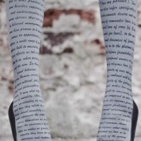Love Text Print Tights Grey  Black  |  TrendyLegs