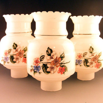 Glass Lamp Chimney Globes White Floral Ruffled Set of 3