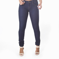 Classic Skinny Pants In Dark Denim Blue