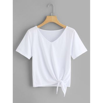 Knotted Hem Solid Tee
