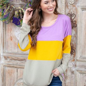 Color Block Mardi Gras Top