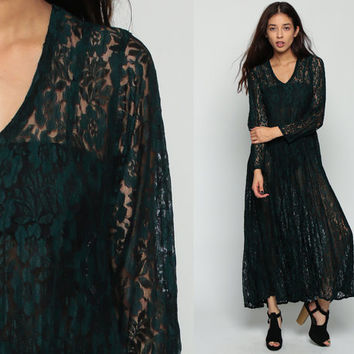 Boho LACE Dress Sheer 90s Maxi Grunge Floral Deep V Neck Dark Green Vintage Bohemian Party Long Sleeve Drape Large