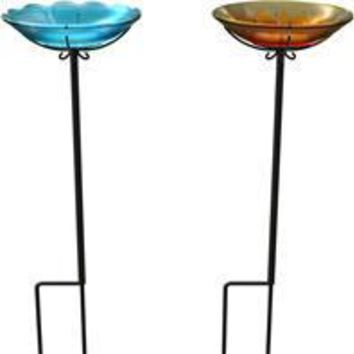 Panacea Products - Flower Glass Birdbath With Stake